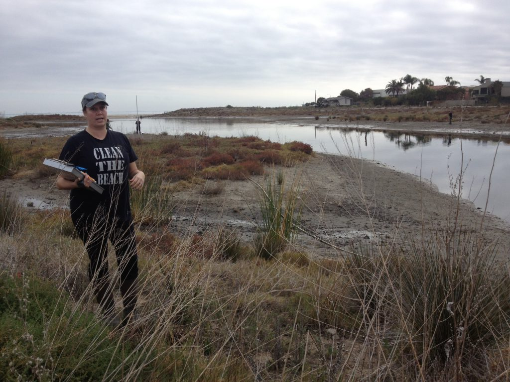 Scientists from The Bay Foundation conduct post-restoration monitoring of the Malibu Lagoon in January 2016